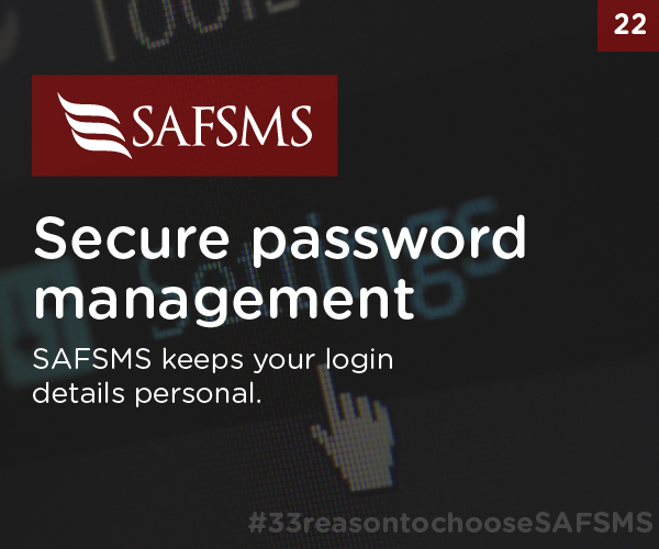 SAFSMS keeps your Passwords Secure